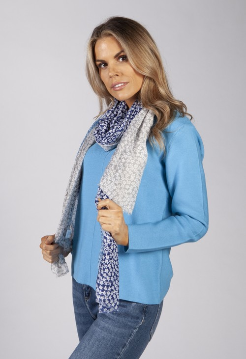 PS Accessories Blue Mini Daisy Panel Scarf