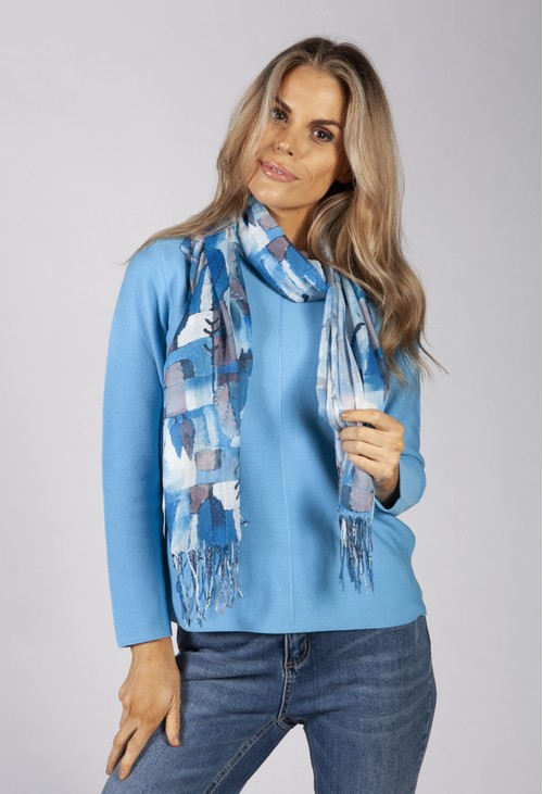 PS Accessories Blue Toned Abstract Print Scarf