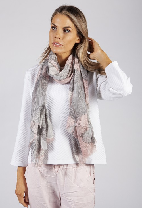 PS Accessories Grey and Pink Fan Print Scarf
