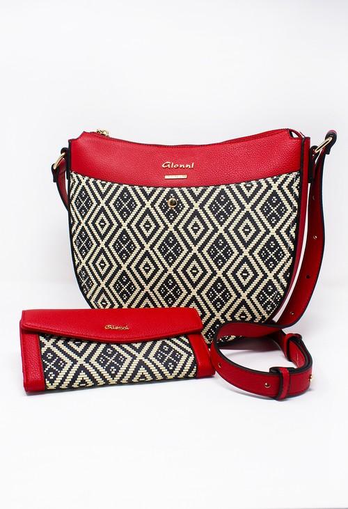 Gionni Dagari Red and Geometric Print Bag and RFID Wallet Set