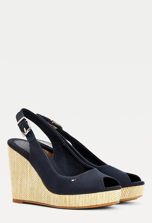 Tommy Hilfiger Navy ICONIC HIGH WEDGE SLINGBACK SANDALS