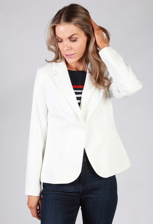 Zapara Off White Button Blazer