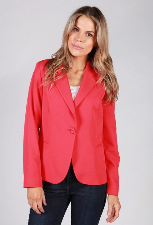 Zapara Coral Red Button Blazer