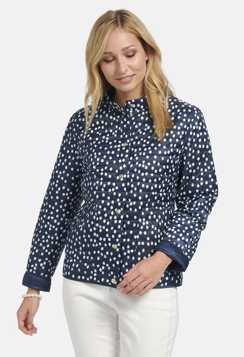 Basler EASY-CARE JACKET WITH DOTTED PATTERN IN NAVY-OFFWHITE