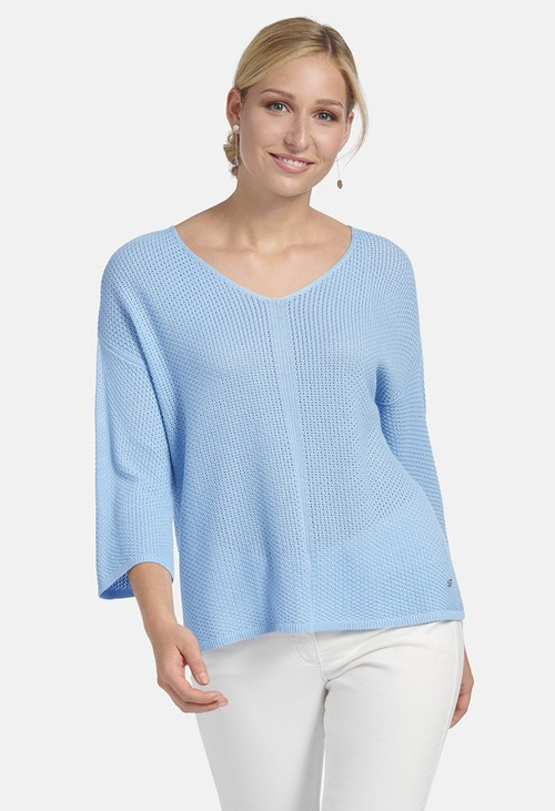 Basler SWEATER MADE OF SOLID-COLOR RICE GRAIN PATTERN IN AIR