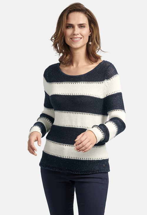 Basler STRIPED SWEATER WITH AJOUR PATTERN IN OFFWHITE-NAVY