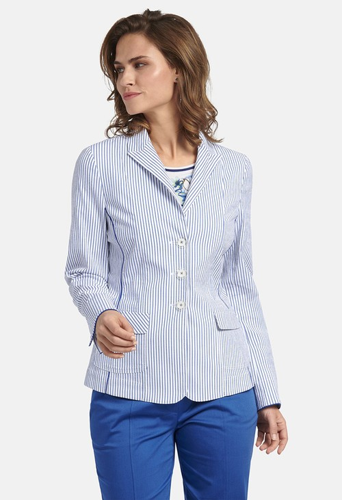 Basler JACKET BLAZER WITH STRIPED PATTERN IN BLUE-WHITE