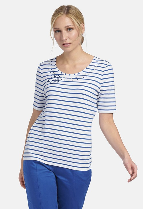 Basler T-SHIRT WITH STRIPES IN WHITE-BLUE