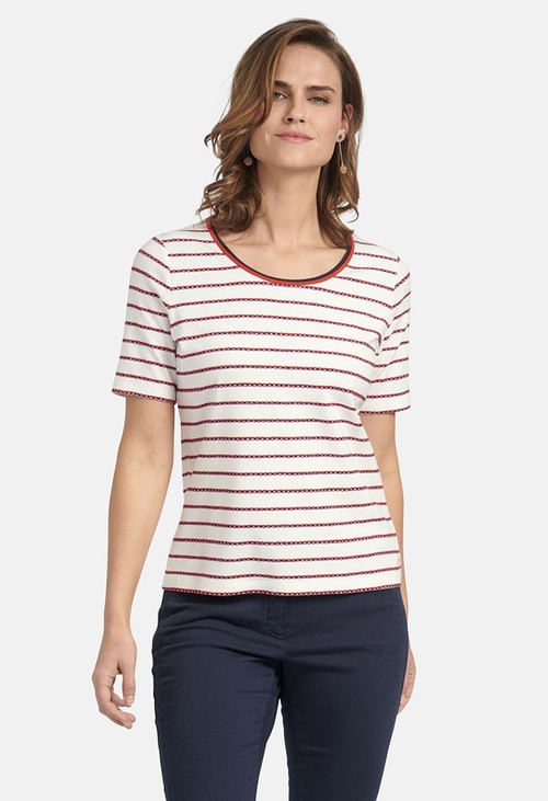 Basler SHIRT WITH STRIPED PRINT IN OFFWHITE MULTICOLOUR