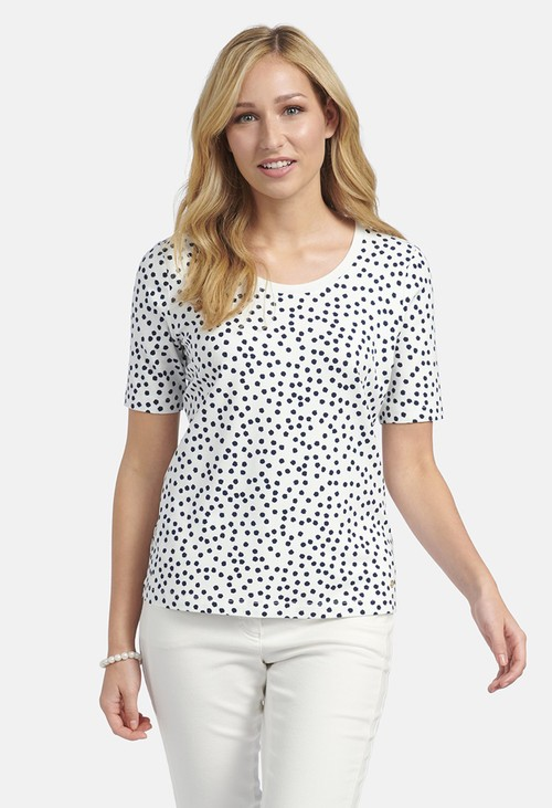 Basler SHIRT WITH POLKA DOT ALLOVER PATTERN IN OFFWHITE-NAVY