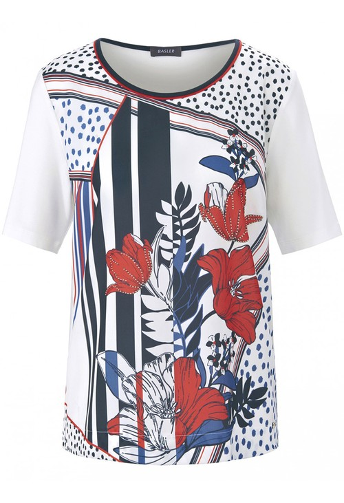Basler T-SHIRT WITH PRINTED FRONT IN OFFWHITE MULTICOLOUR