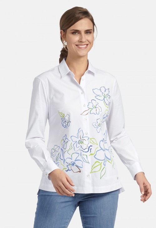 Basler SHIRT BLOUSE WITH FLORAL PRINT IN WHITE MULTICOLOUR