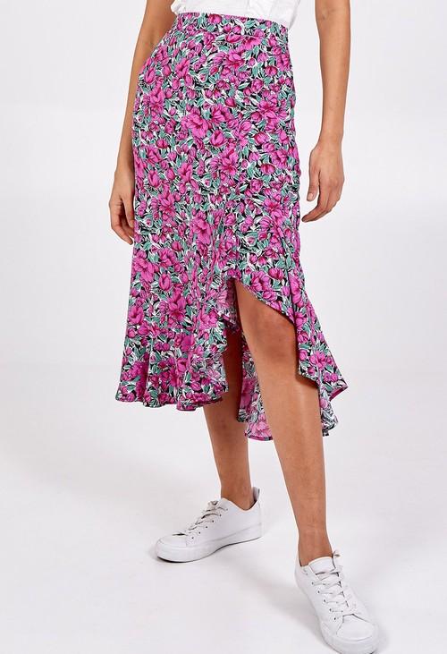 Pamela Scott Ruffle Hem Midi Skirt