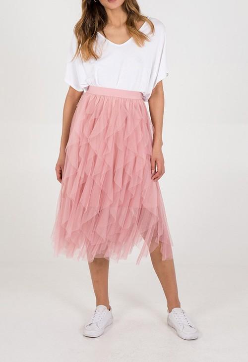 Pamela Scott Frill Detail Mesh Midi Skirt