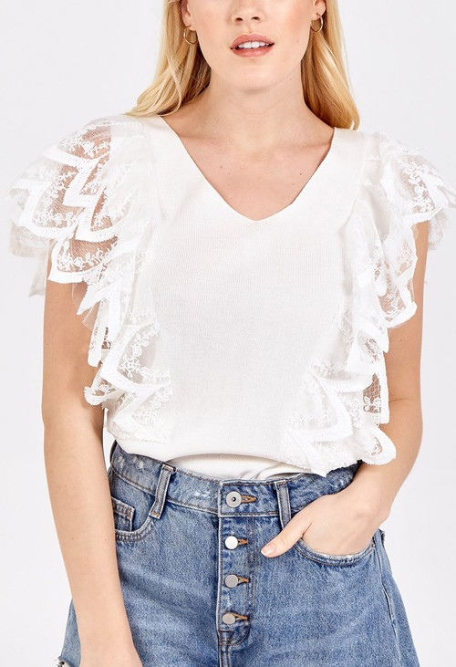 Pamela Scott V-Neck Lace Shoulder Detail Top