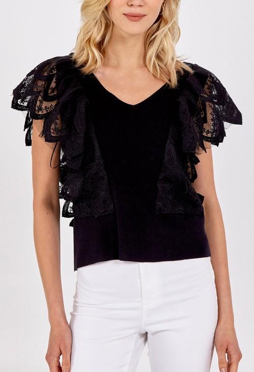 Pamela Scott V-Neck Lace Shoulder Detail Top