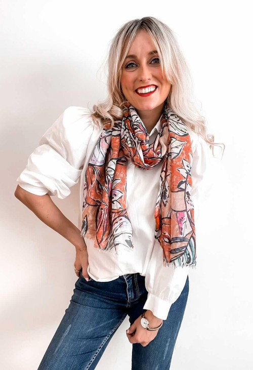 PS Accessories Summer Orange Leaf Print Scarf