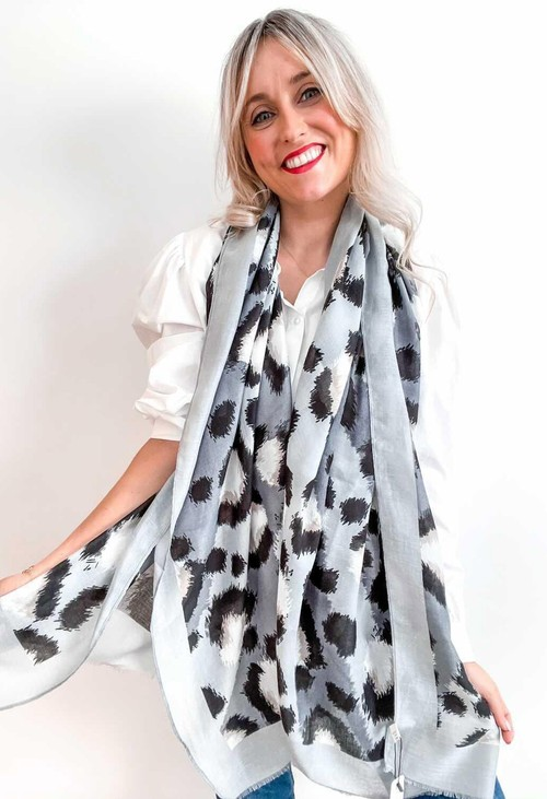 PS Accessories Light Grey Animal Print Scarf
