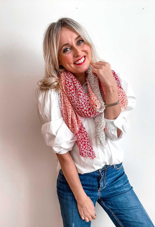 PS Accessories Red Mini Daisy Panel Scarf