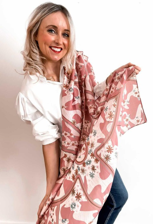 PS Accessories Pink Flower Print Scarf