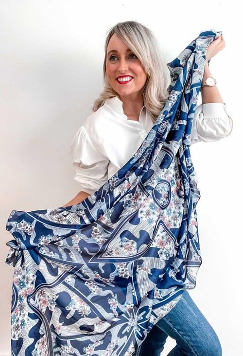 PS Accessories Blue Flower Print Scarf