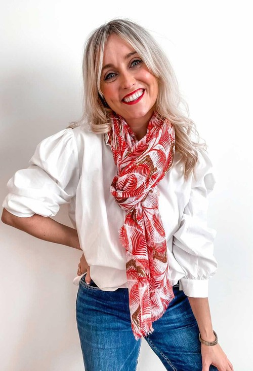 PS Accessories Red Tiger Print Scarf