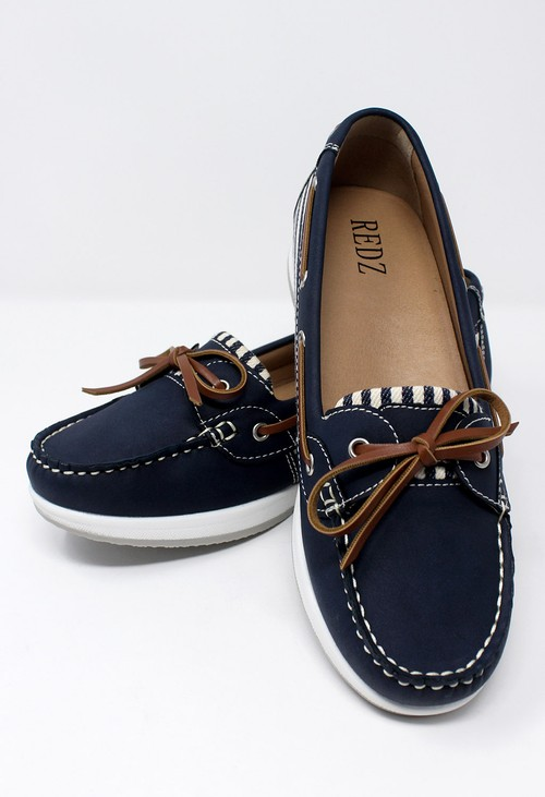 Shoe Lounge Navy Boat Shoe with Stripe Detail