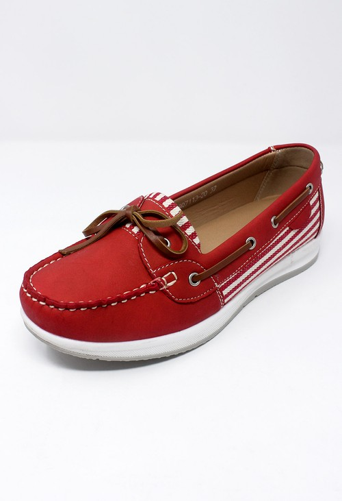 Shoe Lounge Red Boat Shoe with Stripe Detail