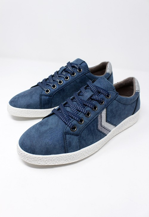 Shoe Lounge Denim Blue Laced Trainers with Zig-Zag Glitter Stripes