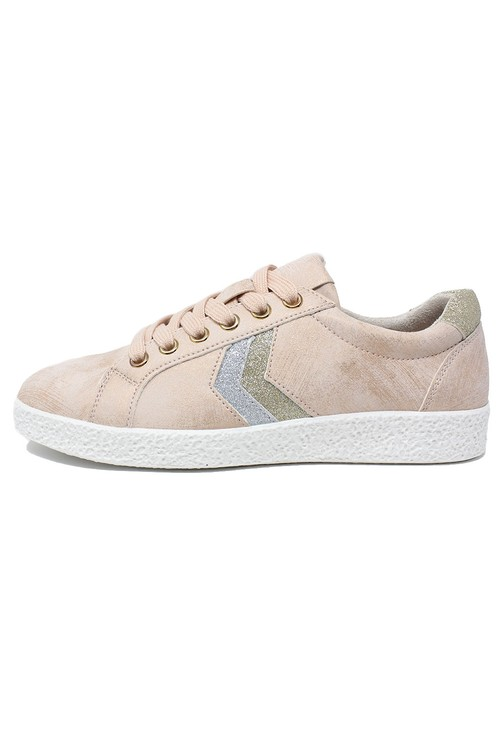 Shoe Lounge Dusty Pink Laced Trainers with Zig-Zag Glitter Stripes