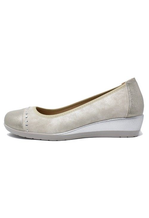 Shoe Lounge Low Wedge Silver Lightweight Pumps
