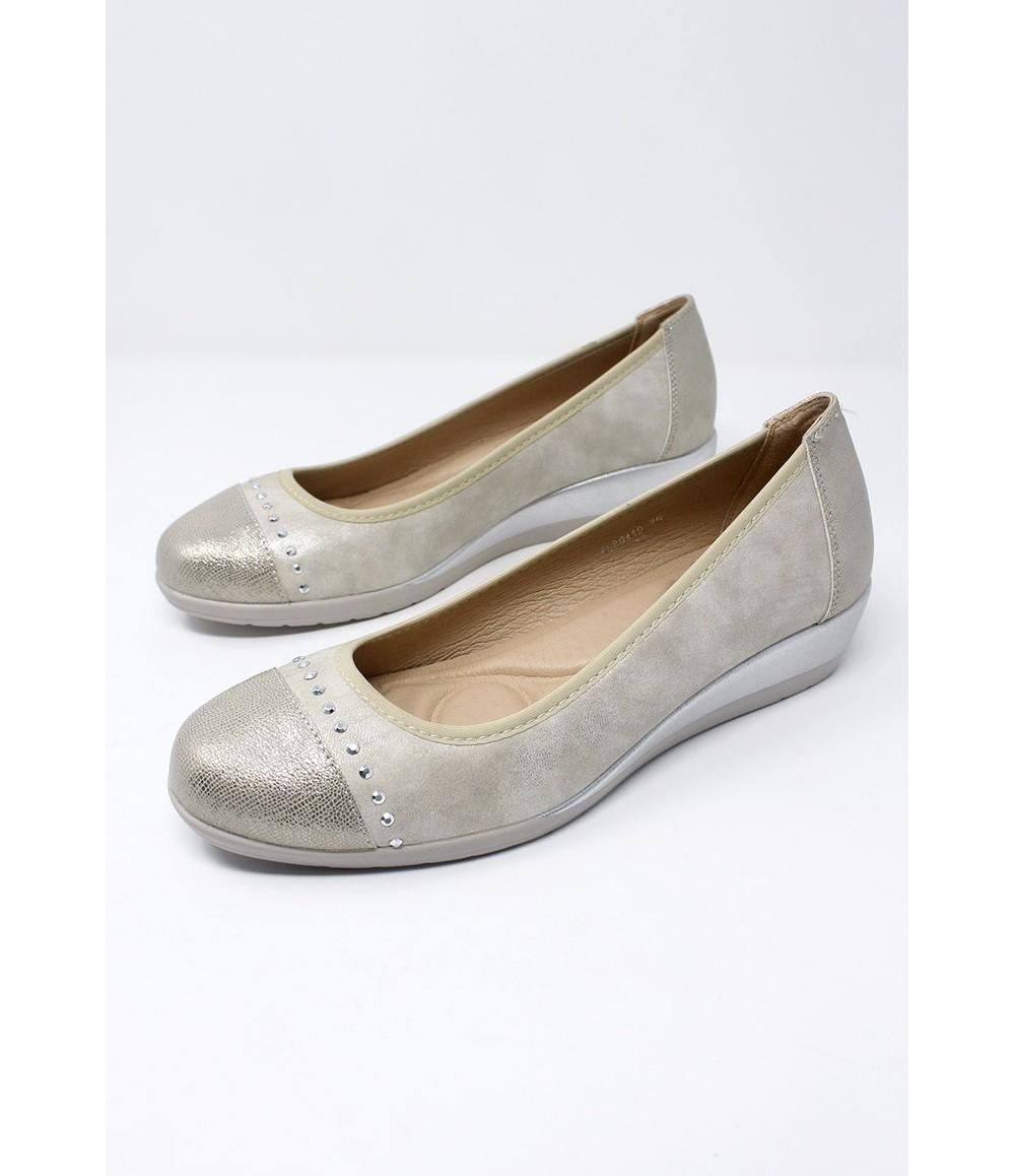 Shoe Lounge Low Wedge Silver Lightweight Pumps