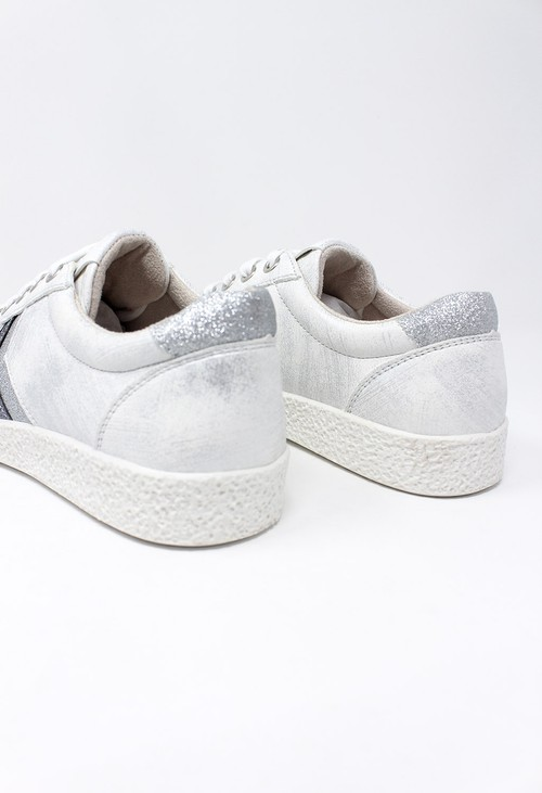 Shoe Lounge Silver Laced Trainers with Zig-Zag Glitter Stripes