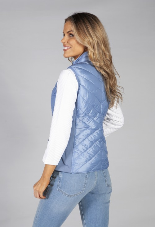 Pamela Scott Sky Blue Reversible Gilet