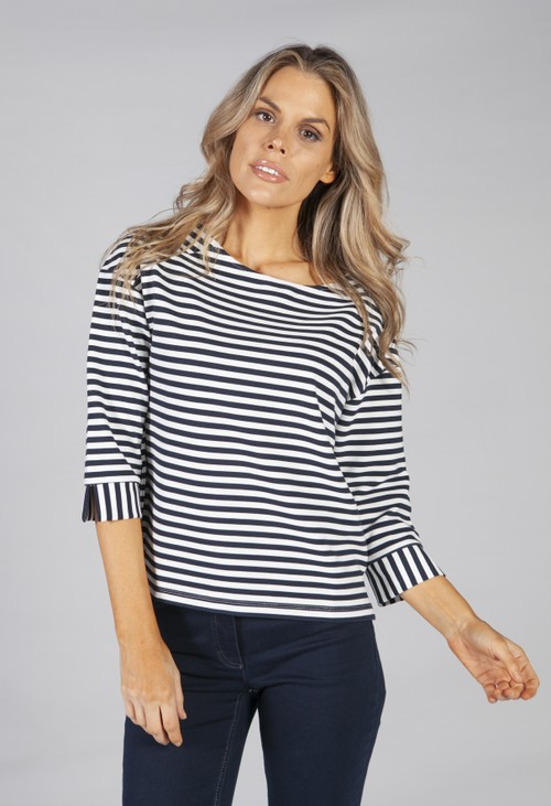 Betty Barclay stripe sweatshirt in navy and white