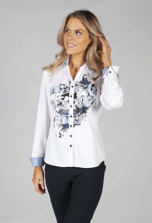 Just White Long-sleeved printed blouse in blue