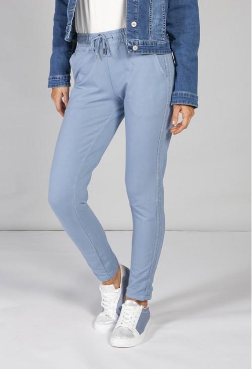 Pamela Scott blue joggers with a lurex detail side stripe