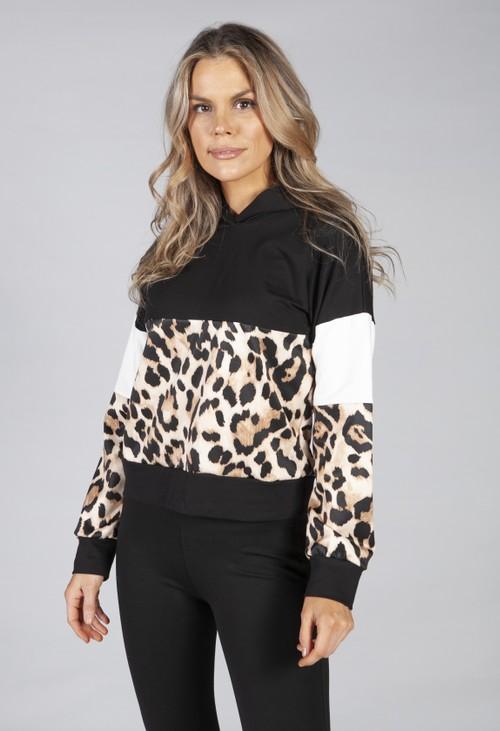 Pamela Scott hooded sweatshirt in black with leopard