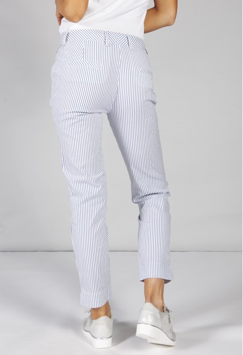 Basler nautical stripe trousers in blue and white