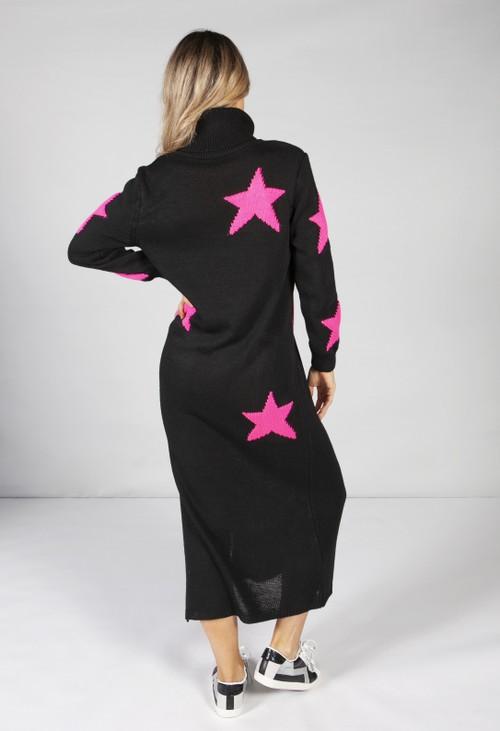 Zapara Black Star Knit Midi Dress