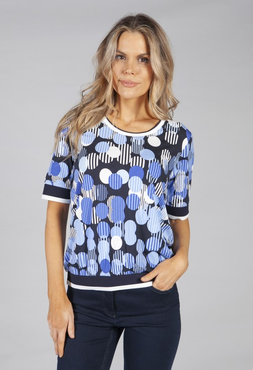 Betty Barclay Blue and Navy printed top