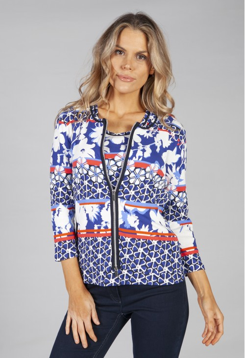Betty Barclay zip up printed cardigan