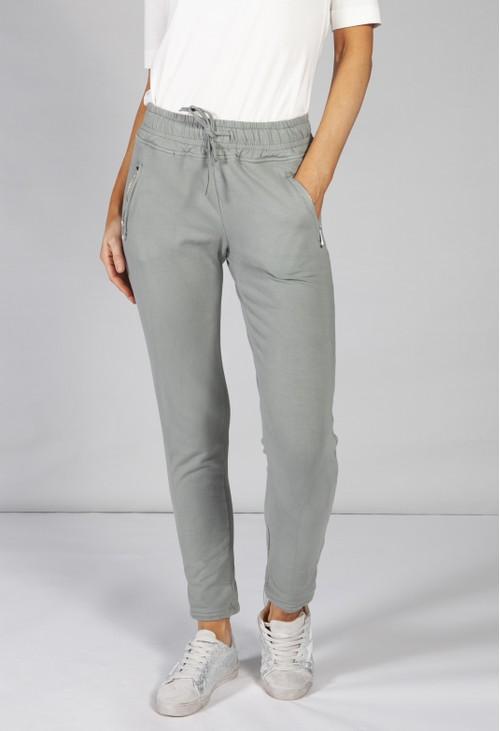 Pamela Scott *Pre-Order* khaki green joggers with side zip pockets