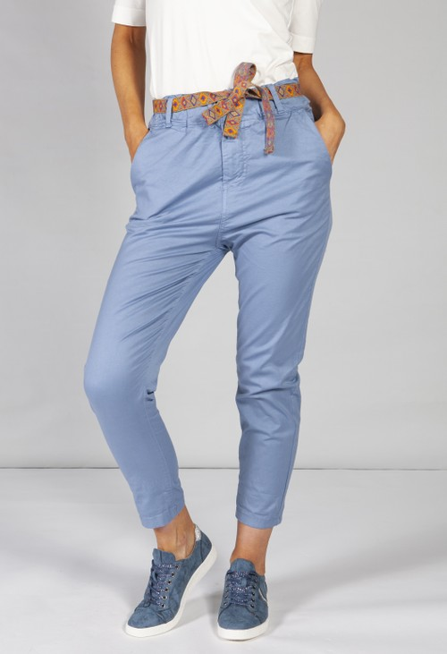 Pamela Scott blue chino trousers with aztec print belt