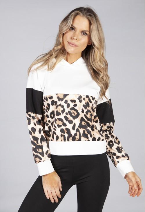 Pamela Scott hooded sweatshirt in cream with leopard