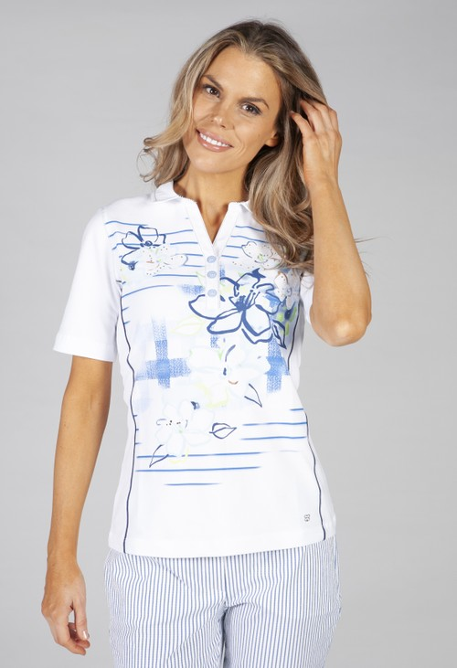 Basler white poloshirt with a flower print