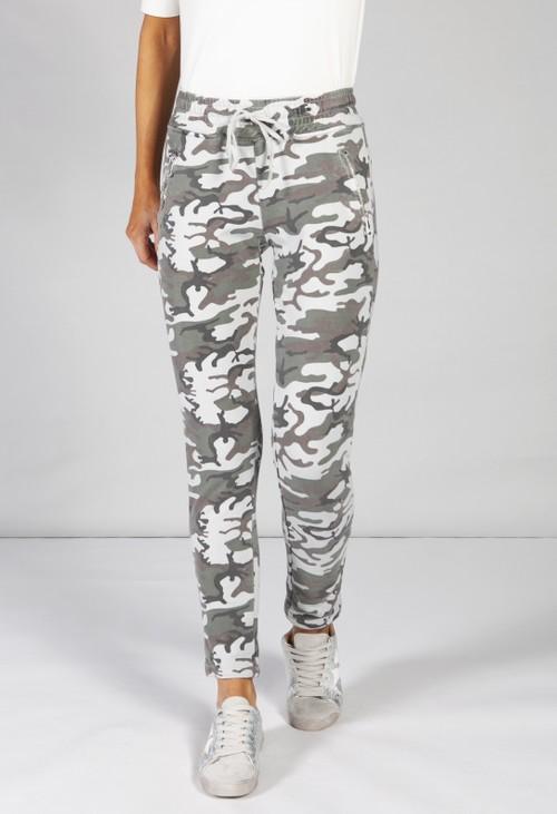 Pamela Scott khaki green camouflage joggers with side zip pockets