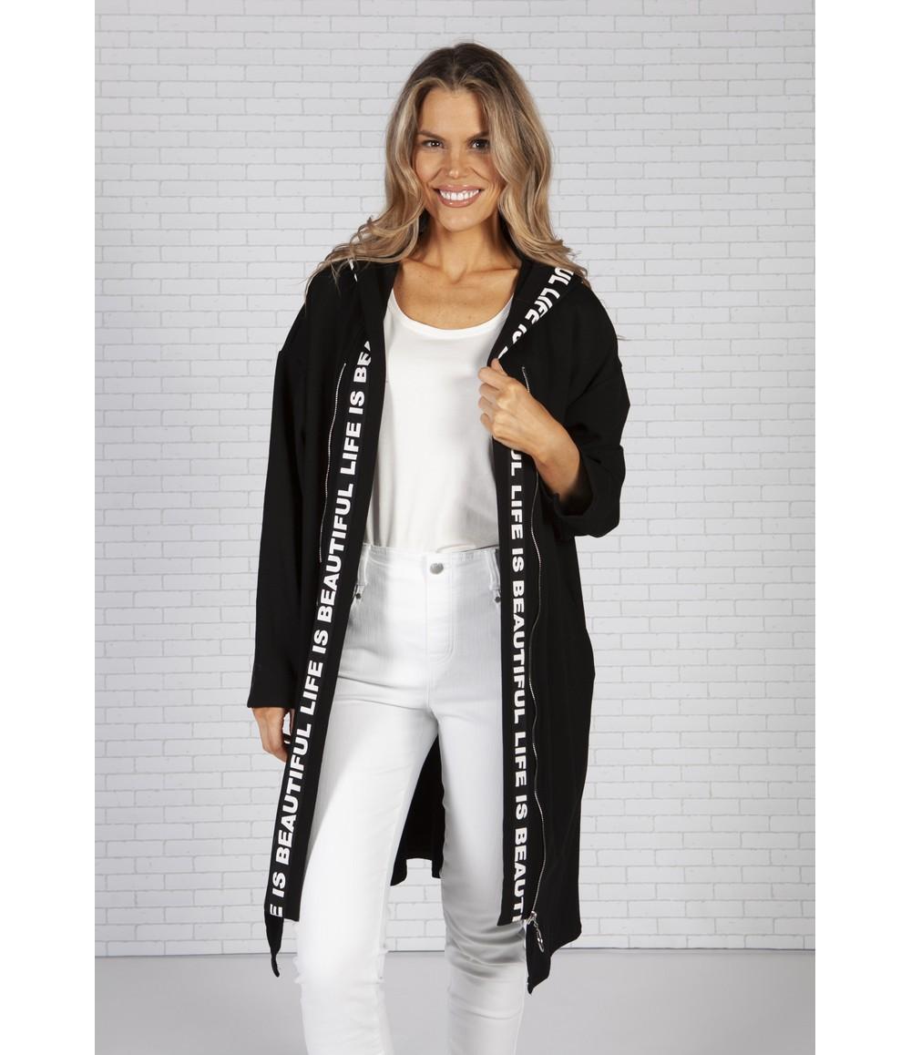 Zapara Long Black Cardigan with Logo Straps