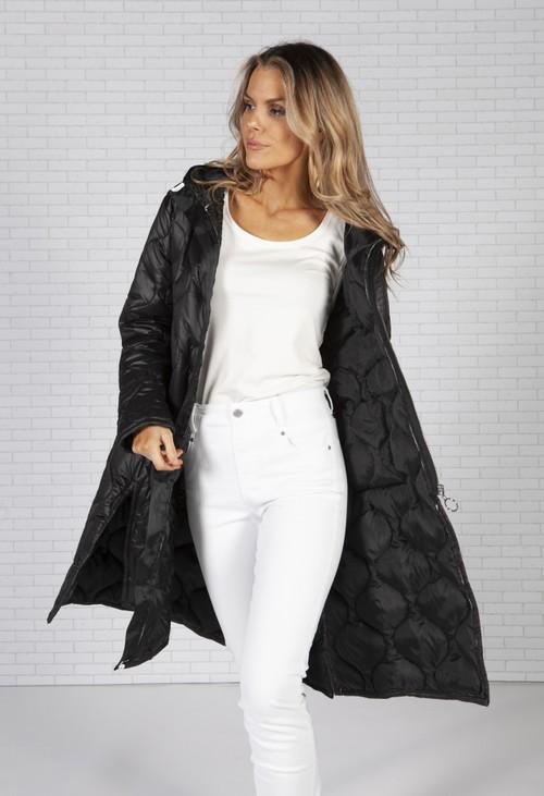 Pamela Scott Black Oversized Quilted Coat