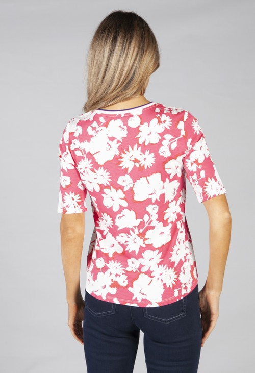 Betty Barclay top with flower print in pink and off white